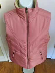 Newcabi Womenand039s M Pink Green Reversible Quilted Cute Fall Puffer Zipper Vest