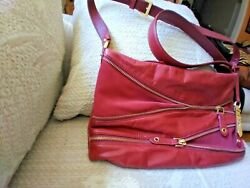 Cole Haan Brick Red Leather Crossbody Purse 12 1 2quot; x 8quot; $24.99