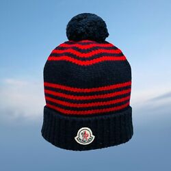 Moncler Mens Hat Navy Blue Red Wool Beanie Hat Logo One Size Fits All