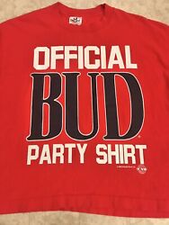Vintage 1988 Bud Party Shirt Anheuser-busch Unisex One-size Red 1980s Budweiser
