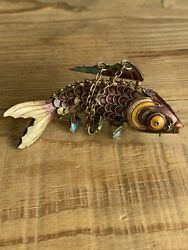 Vintage Hand Made Sterling Silver Enamel Fish Pendant Articulated