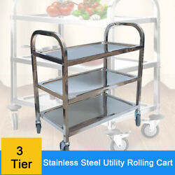Commercial Bus Cart Kitchen Food Catering Rolling Utility 3 Tier Stainless Steel