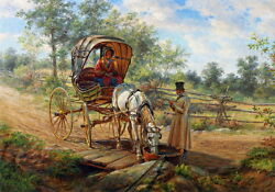 Oil Painting Edward Lamson Henry At The Watering Trough Young Couple And Carriage