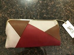 HOBO Lauren Colorblock Leather Red Brown Ivory Wallet Clutch NWT $158 $100.00