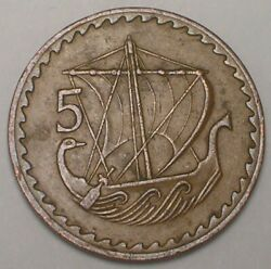 1963 Cyprus Cypriot 5 Mils Ancient Ship Coin Vf