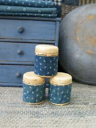 3 Small Antique Spice Tins 1890s Blue Calico Sleeves