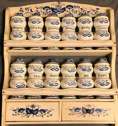 Vintage And039blue Onionand039 Spice Rack With 12 Spice Jars Made In Japan 1950and039s