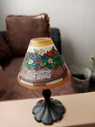 Coca Cola Lamp Shade Covering Vintage Candle Holder Metal Holder Goes Out Into A