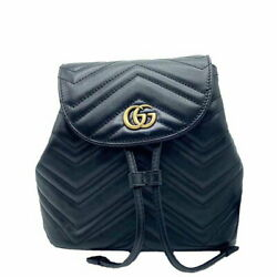 Gg Marmont Backpack 528129 Black Women And039s Day Pack Secondhand