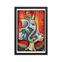 Framed Poster, Lord Ganesh Painting, Ready To Ship, Free Shipping