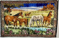 Large Horses Stallions Wall Hanging Tapestry Or Rug 6' X 4' Colorful 1960 70s.