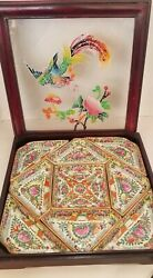 Antique 1920s Famille Canton Rose 9 Pc Sweetmeat Porcelain Set Wood And Glass Box