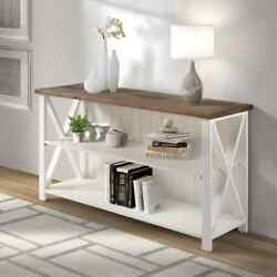 Welwick Designs Accent Bookcase 30 In. White/reclaimed Barn Wood 2-shelf