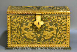 11 Old China Copper 24k Gilt Gold Qing Dynasty Dragon Beast Chest Jewelry Box