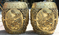 18 Chinese Bronze Hollow Dragon Phoenix Animal Chair Chairs Statues Pair