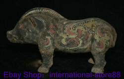 14.8 Rare Old China Han Dynasty Painting Pottery Palace Pig Beast Zun Sculpture