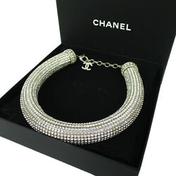 Auth P17k Collection Line Crystal Necklace Choker Silver 20870bkac