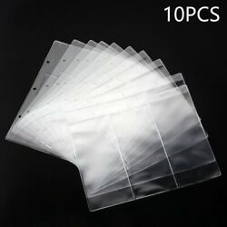 10pcs Clear Banknotes Album Page Paper Money Penny Collection Binder Sleeves