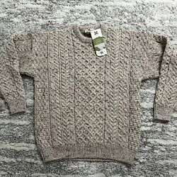 Carraigdonn Menandrsquos Grandpa Style Wool Sweater S Trellis And Cable Stitch New Nwt