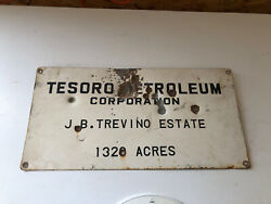 Old Tesoro Petroleum Corp. Jb Trevino Lease Well Oil Sign Gas Diesel Fuel