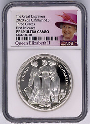 Royal Mint 2020 Three Graces Silver Proof 2oz Ngc Pf69 First Release Elizabeth