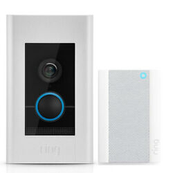 Ring 8vr1e7-0en0 Video Doorbell Elite Bundle With Ring Chime Pro, 2nd Generation