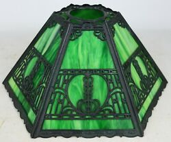 Antique Arts And Crafts Green Slag Glass 6-paneled Lamp Shade Metal Overlay Deco