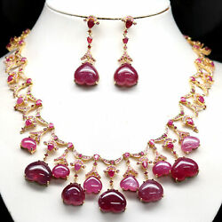 Natural Set Pink With Red Ruby And Sapphire Earrings And Necklace 925 Silver