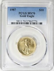 1987 10 Gold Eagle Pcgs Ms70 Very Low Pop 40 Low Mintage Year Roman Numerals