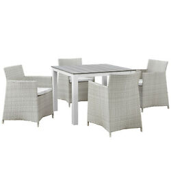 Modway Junction 5 Piece Outdoor Patio Dining Set Eei-1744-gry-whi-set