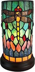 Style Accent Lamp Stained Glass Yellow Red Dragonfly Floral Shade
