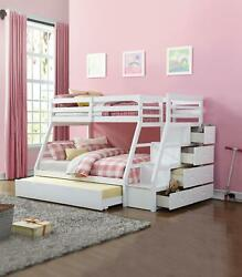 Acme Jason Twin/full Bunk Bed W/ Storage Ladder And Trundle In White 37105