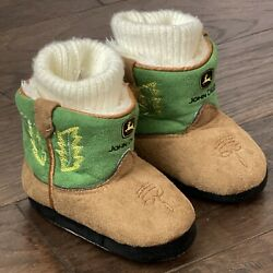 John Deere Faux Suede Leather Infant Baby Boots Slippers Size 6-12 Months