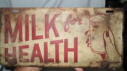 Antique Usa Metal License Plate Drink Milk For Health Dairy Cow Advertising Sign