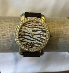 Geneva Gold Tone Crystal Watch With Zebra Striped Face And Brown Silicone Strap