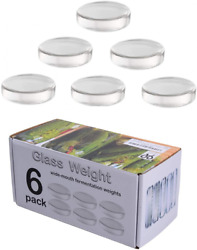6 Pack - Large Glass Fermentation Weights For Wide Mouth Mason Jars. Clear
