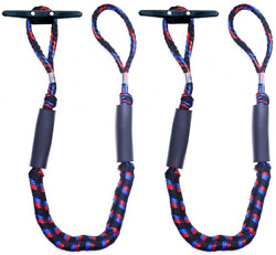 Botepon 2pcs Boat Dock Line, Bungee Cords For 4 Feet Stretches To 5 1/2