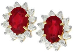 3.20ct Ruby And 0.50ct Diamond 18ct Yellow Gold Cluster Earrings - Vintage