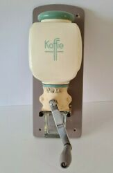 Vintage Pottery And Wood Wall Coffee Grinder Pede