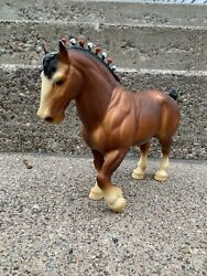Vintage Traditional Breyer Clydesdale Stallion With Red amp; White Bobs #80