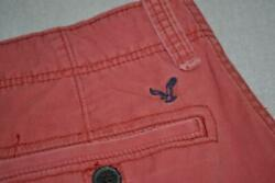 26293-a Mens American Eagle Cargo Shorts Flat Front Size 36 Red Cotton