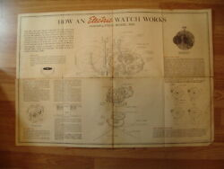 """Large Vintage Hamilton How A Watch Works Factory Issue Poster 21 X 31"""""""