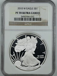 2010-w 1 Proof Silver American Eagle Pf70 Ucam Ngc 3450766-032