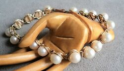 Vintage 14k Gold And Luminous Pearl Link Bracelet - 7.5 Long - 6mm Pearls In Cage