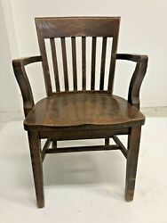 Vintage Wood Office Chair Banker Desk Courthouse Lawyer Antique Arm Library Loft