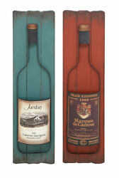 Rustic Pair Wall Panels Green Red Wine Bottles Vintage Labels Home Decor 56020