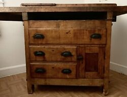 Antique/new England Traditional Farmhouse Carpenters Work Bench /table