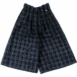 18ss Check Tweed Wide Pants Navy 34 Women 's Wool P59 Coco Mark No.5465
