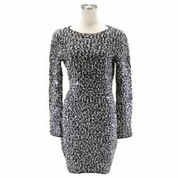 94a Vintage Tight Wool Dress Women And039s Black White 38 Beads Coco No.6761