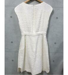 Cute Tweed Dress Sleeveless White System Size36 Free Shipping No.6848